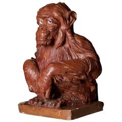 19th Century Terracotta Sculpture of a Monkey