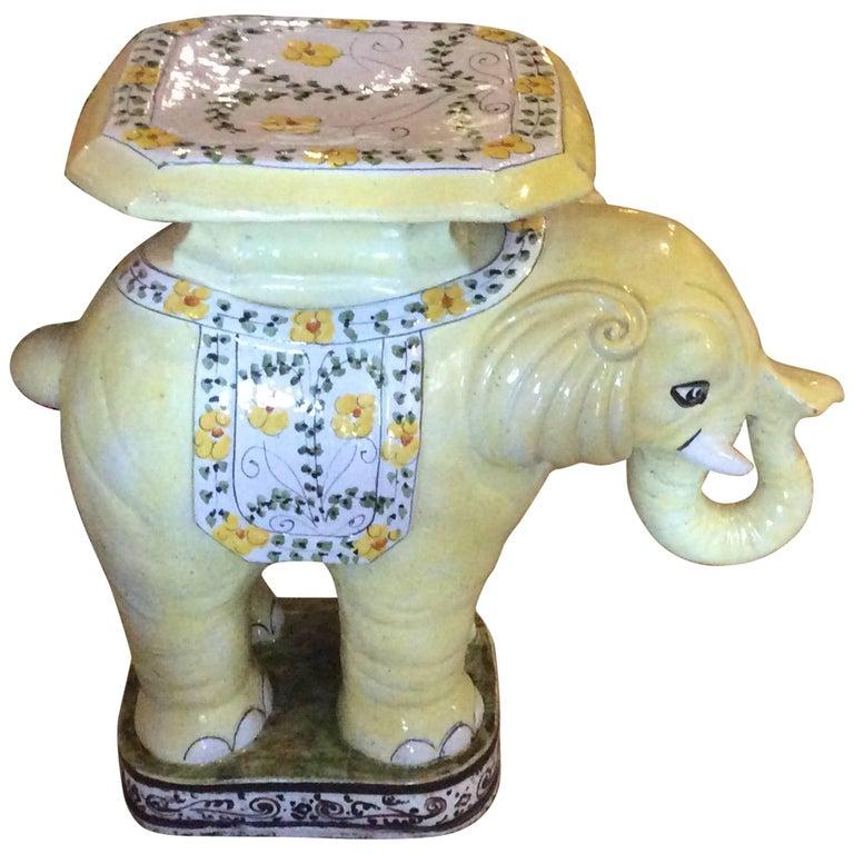 Elephant Vintage Terra Cotta Yellow Floral Garden Stand
