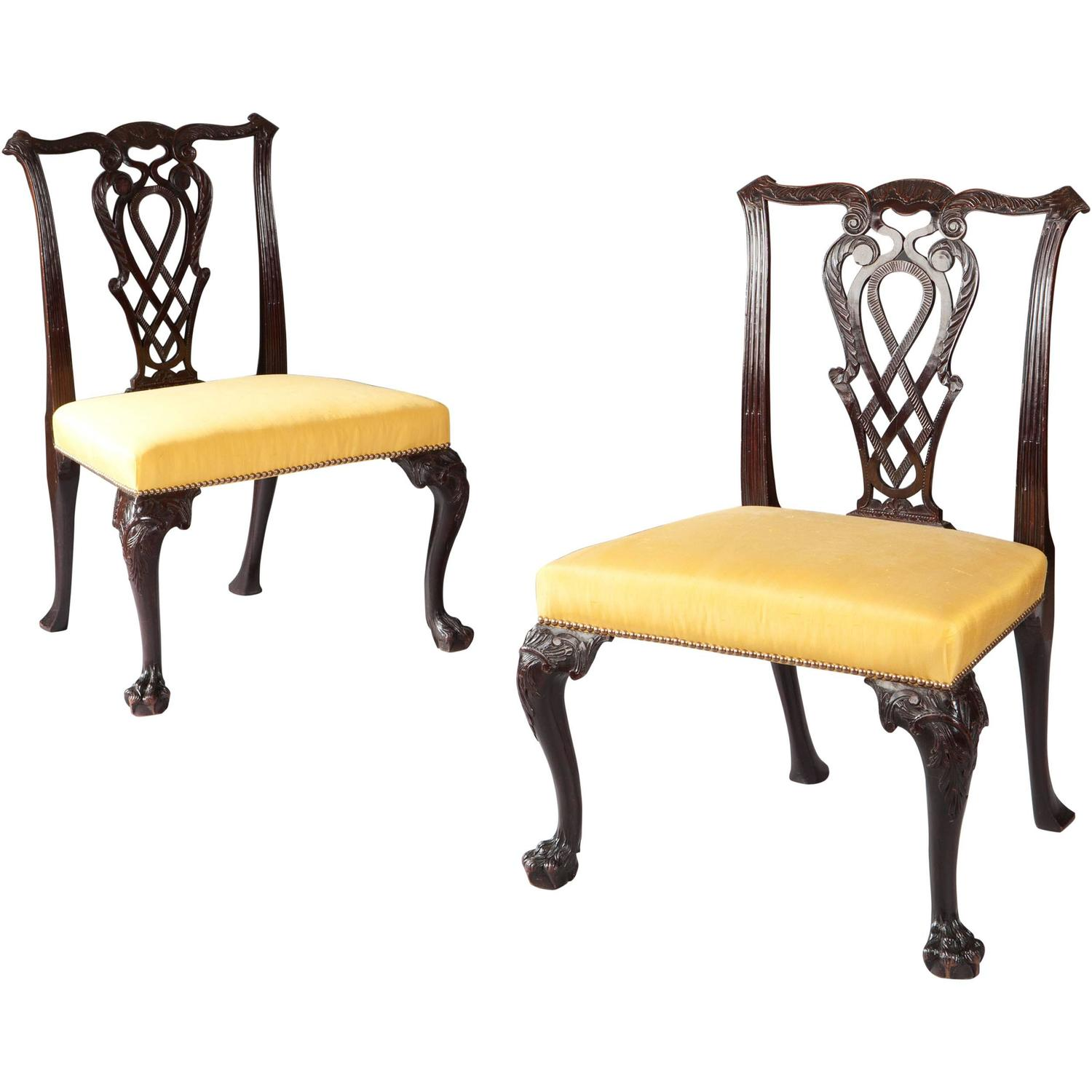 Pair Of 18th Century Chippendale Side Chairs At 1stdibs