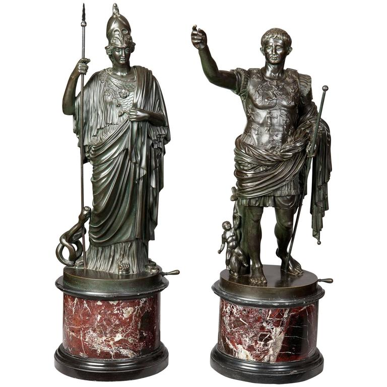 Pair of Bronze Statues of Minerva and Augustus, Attributed to B Boschetti For Sale
