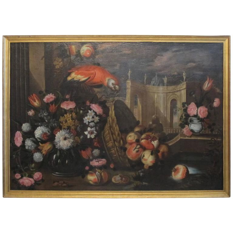 Large-Scale 18th Century Dutch Still Life Oil Painting with Giltwood ...