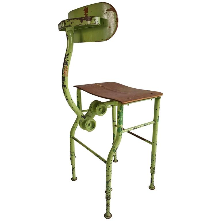 Sculptural Industrial Medical /Drafting Stool For Sale