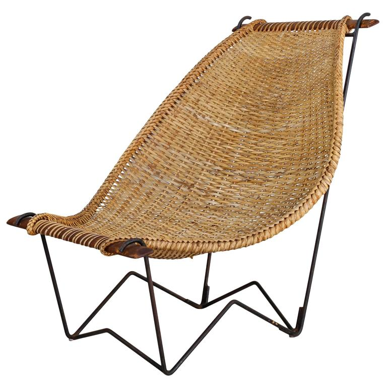 John Risley Metal and Rattan Duyan Lounge Chair, USA, 1950s