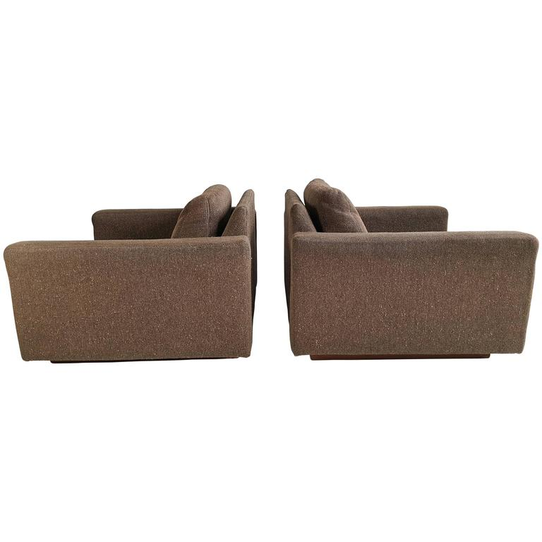 Pair of Milo Baughman for Thayer Coggin Cube Lounge Chairs