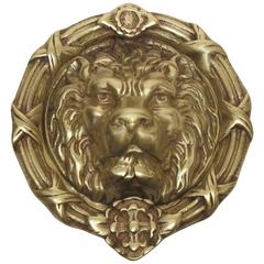 Large Brass Lion Doorknocker