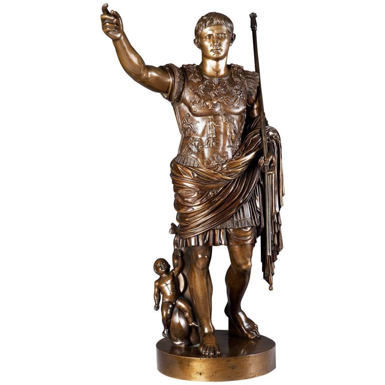 Bronze Sculpture Of Augustus Roman Emperor By Boschetti
