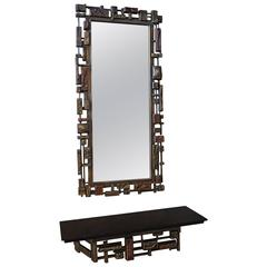 Mid-Century Modernist 'Syroco' Brutalist Mirror with Shelf