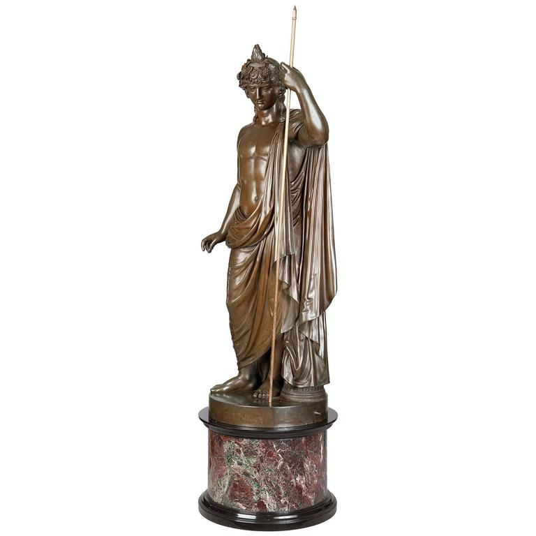 Bronze Statue of Antinous Holding a Sceptre by Boschetti, 19th Century