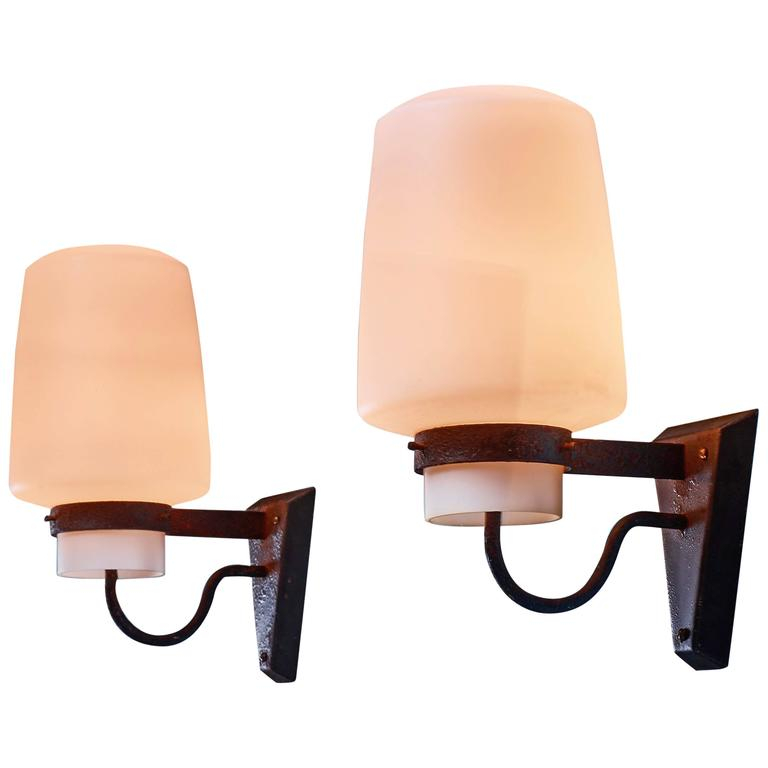 Georges Candilis Pair of Metal and Glass Sconces, France, 1960s