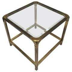 Brass and Beveled Glass End Table by Mastercraft