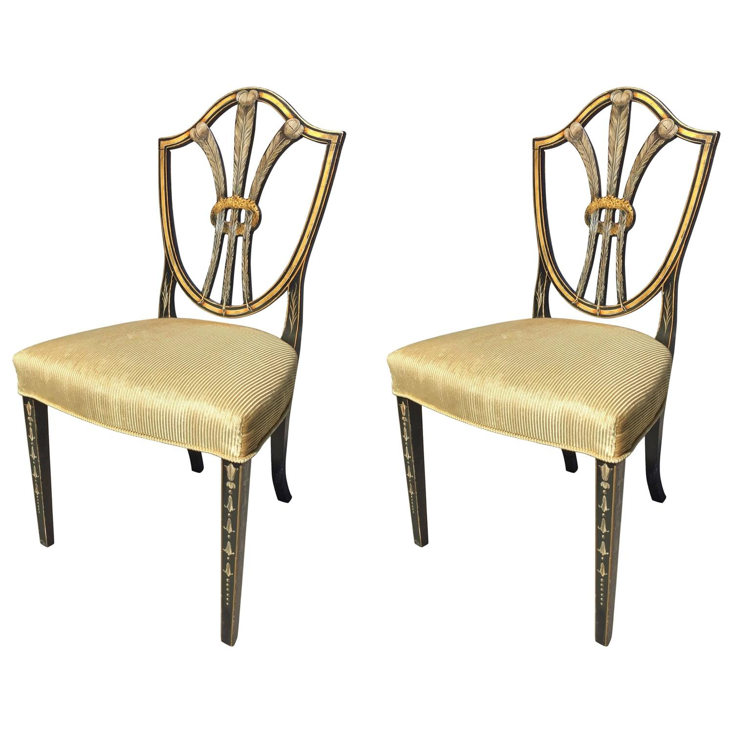 Pair Of Hepplewhite Shield Back Chairs With Windsor Feather Painted Backs
