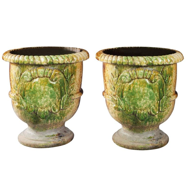 Pair Of Italian Large Glazed Terracotta Garden Pots For Sale