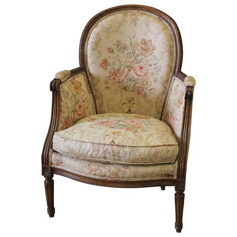 Antique French Country Louis XVI Bergere Chair in Linen