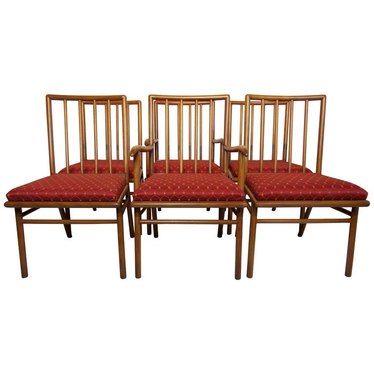 Set of Six Dining Chairs T.H. Robsjohn-Gibbings for Widdicomb, circa 1952