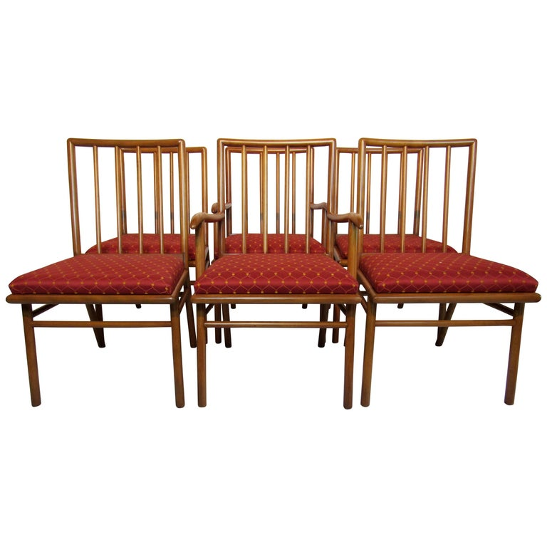 T.H. Robsjohn-Gibbings Set of Six Dining Chairs  for Widdicomb, circa 1952 For Sale