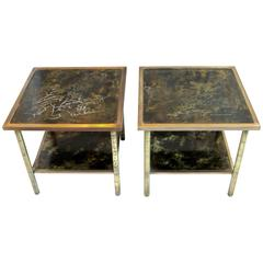"Rare Etched Brass Kelvin & Philip LaVerne Two-Tier End Tables ""Muses"" circa 1970"