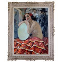 Art Deco Painting of Spanish Dancer by Yves Diey