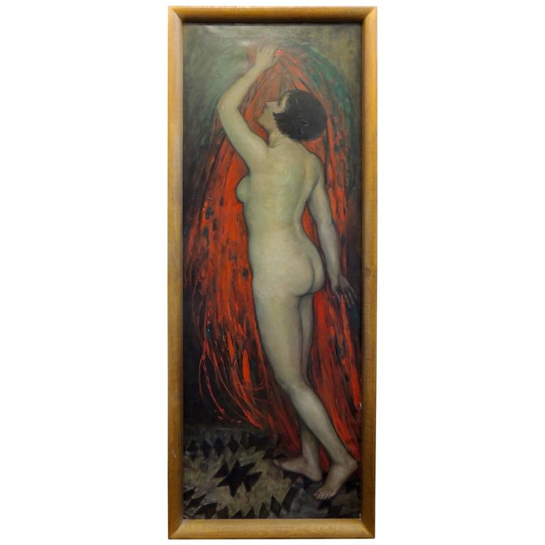 Dutch Art Deco Painting by E.Van Offel, Nude with Red Dress For ...