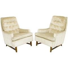 Pair of 1960s High Back Ivory Cut Velvet Lounge Chairs after Harvey Probber