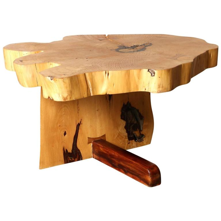 Artisan Crafted Wood Side Table With Butterfly Joint At