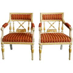 Fine Pair of Gustavian Style Armchairs in Silk