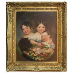 Antique 19th Century Painting of Children