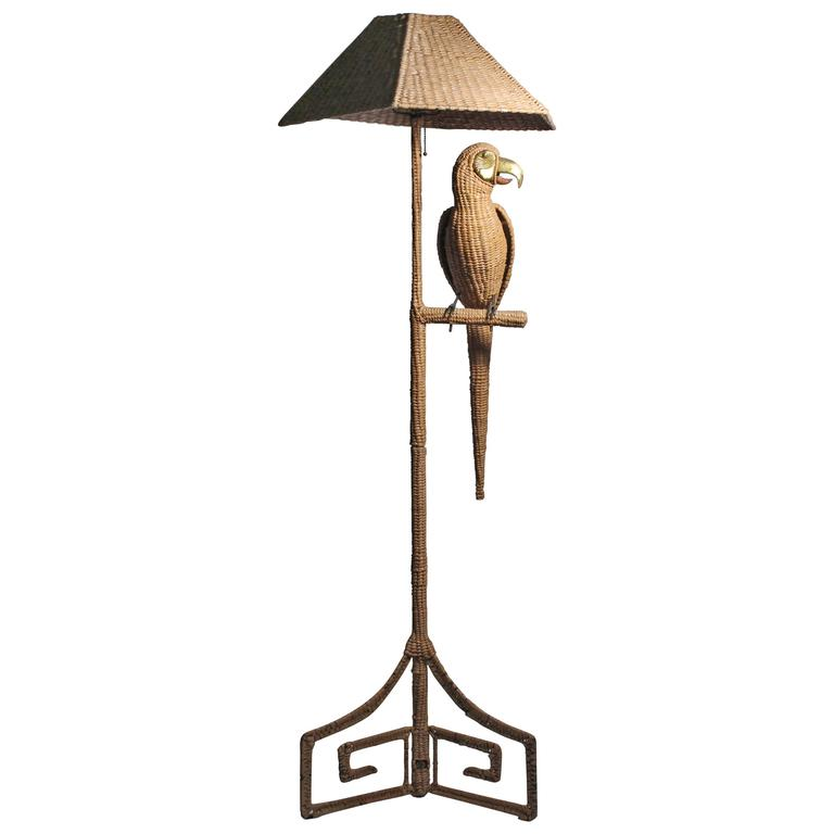 Mario Lopez Torres Parrot and Greek Key base Floor Lamp 1