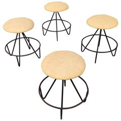Rare Set of Four Iron Stools, USA, 1960s