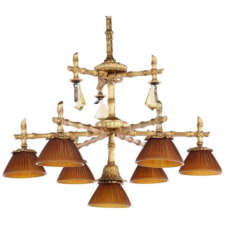Bronze Faux Bamboo Seven-Light Chandelier