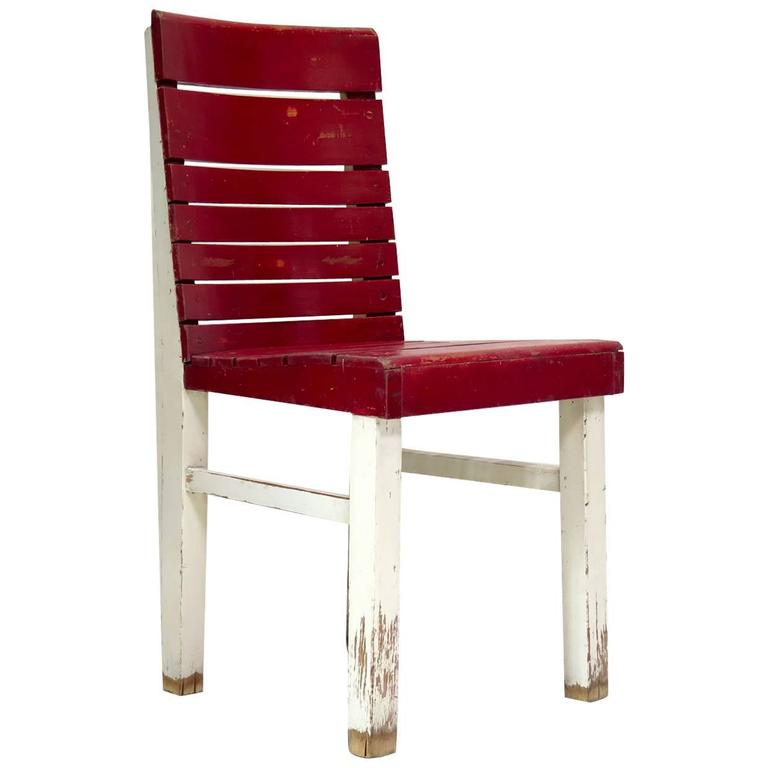 """Red and White Painted """"Fischel"""" Chair, France, circa 1920s-1930s"""