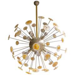 Large Murano Glass and Brass Italian Sputnik Chandelier