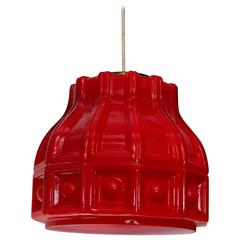 1960s Swedish Helena Tynell Red Glass Pendant Lamp for Flygsfors