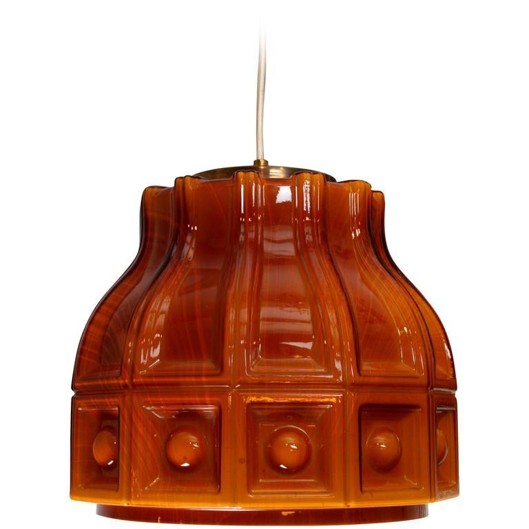 1960s Swedish Helena Tynell Amber Glass Pendant Lamp
