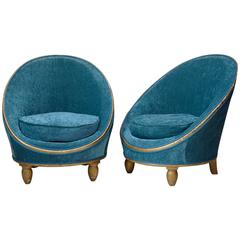 Pair of Velvet Art Deco Slipper Chairs, France, circa 1930s