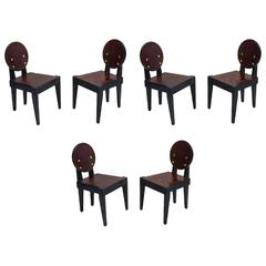 André Sornay Oregon Pine Set of Six Chairs, circa 1935