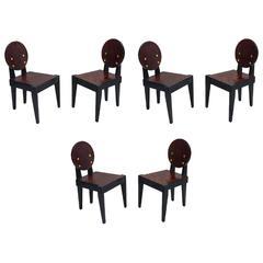 André Sornay Oregon Pine Set of Six Chairs, circa 1935