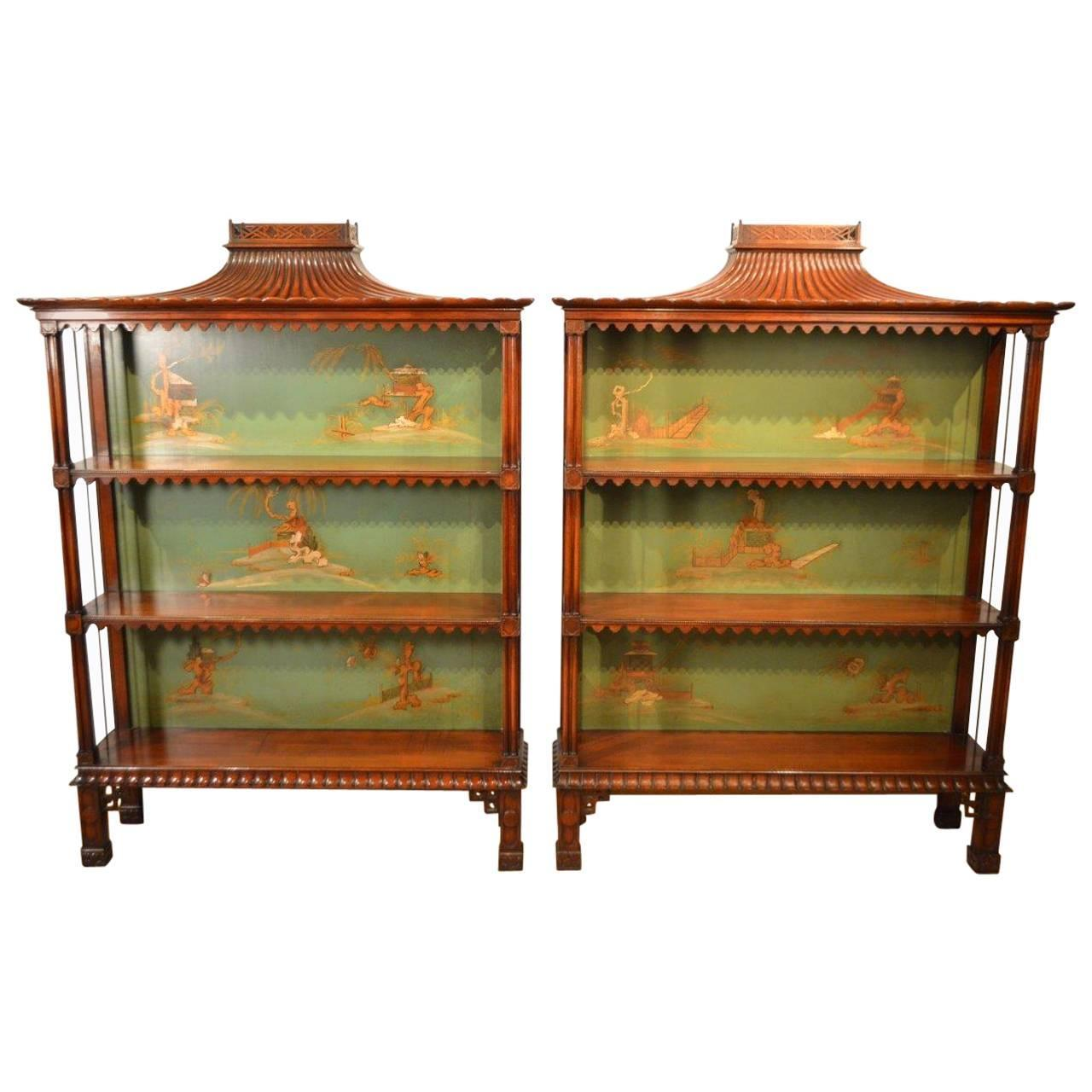 Superb Decorative Pair Of Chinese Chippendale Open Bookcases At 1stdibs