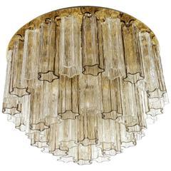 Large Kalmar 'Penta' Flush Mount Light, Brass and Venini Glass, 1970