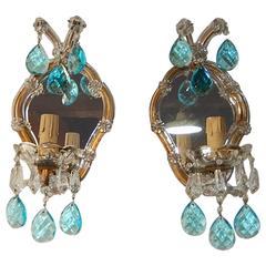 1920 French Aqua Blue Prisms Mirror Murano Glass Sconces
