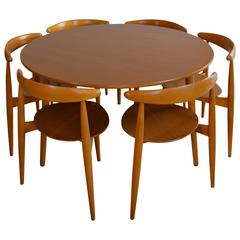 Hans Wegner for Fritz Hansen 'Heart' Dining Table and Six Chairs
