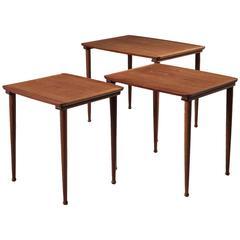 Set of Three Scandinavian Nesting Tables in Teak