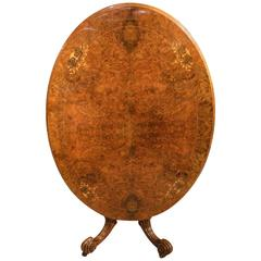 Burr Walnut and Marquetry Inlaid Victorian Period Oval Loo Table