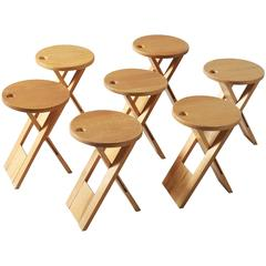 Roger Tallon Set of Seven TS Stools in Maple