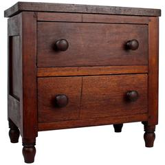 Late 19th Century Pennsylvania Miniature Walnut & Pine Paneled Chest of Drawers