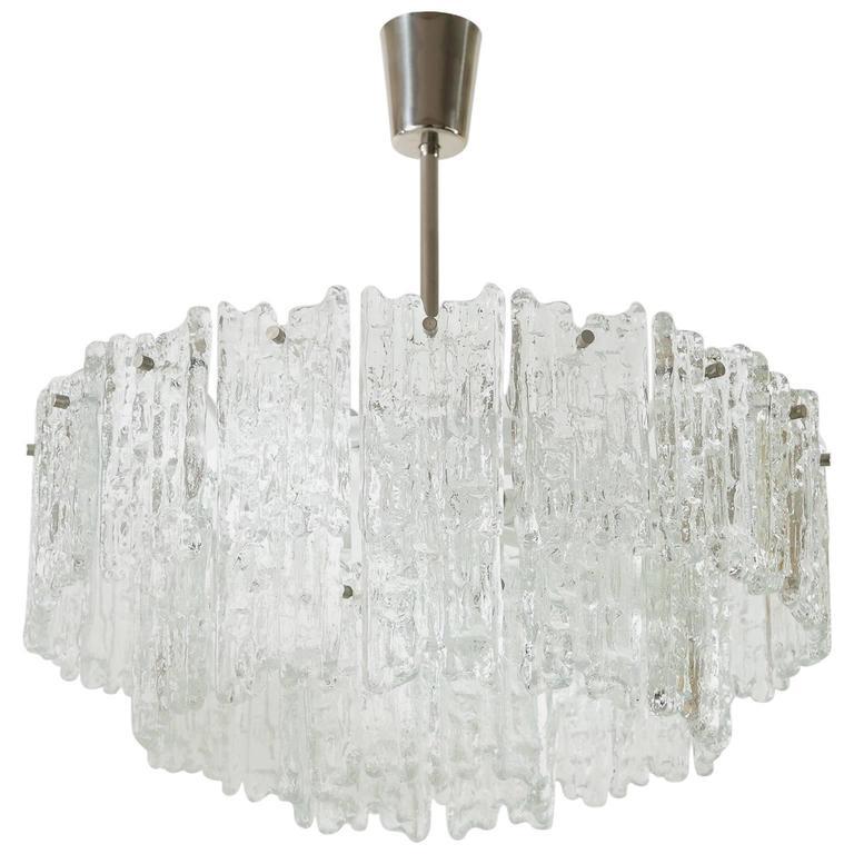Kalmar Chandelier, Rare Ice Glass, 1960s, Set of Four