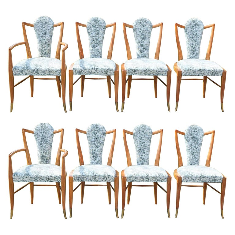 Set of Eight 1950s Dining Chairs by Adolfo Genovese For Sale