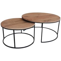 Pair of Contemporary round coffeetables with aged oak top.