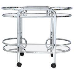 Vintage Art-Deco Chrome Bar Cart
