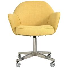 Saarinen for Knoll Executive Arm Chair in Yellow Microfiber, Swivel Base