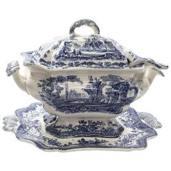 Masons Ironstone China Blue Canton Style Covered Tureen, Ladle and Underplate